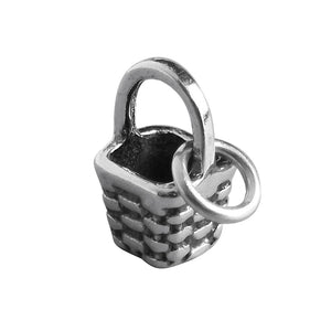 Sterling silver miniature basket charm
