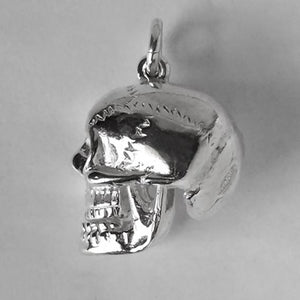 Skull Charm with Red Crystal Eyes Sterling Silver or Gold Side