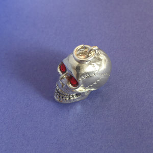 Skull Charm with Red Crystal Eyes Sterling Silver or Gold Top