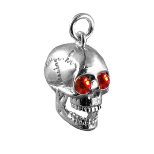 Sterling Silver Skull Charm with Red Crystal Eyes