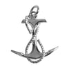 Anchor and rope charm sterling silver pendant