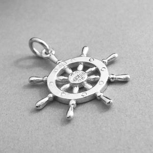 Sterling Silver Ship Helm Charm Pendant