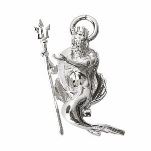 Sterling silver Neptune god of the sea 3D charm or pendant