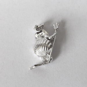 Sterling silver Neptune god of the sea in seashell 3D charm or pendant
