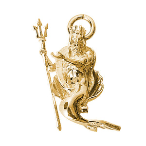 Gold Neptune god of the sea 3D charm or pendant