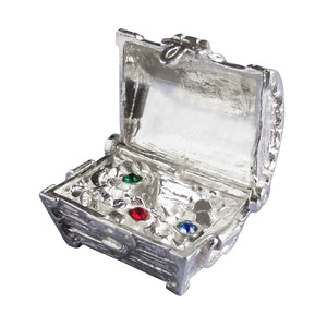 Treasure Chest Charm with Jewels Sterling Silver Pendant