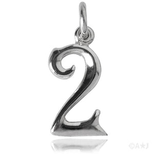 Number Two Charm Numeral 2 Sterling Silver or Gold Pendant