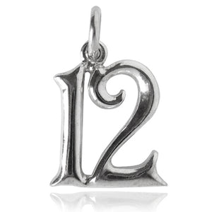 Number 12 Charm Numeral Twelve Sterling Silver or Gold Pendant