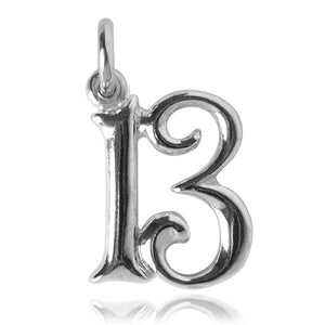 Number 13 Charm Numeral Thirteen Sterling Silver or Gold Pendant