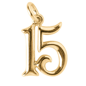 Number 15 Charm – 14ct Yellow Gold