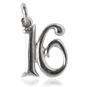 Number 16 Charm Numeral Sixteen Sterling Silver or Gold Pendant
