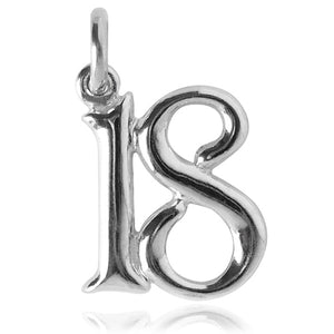 Number 18 Charm Numeral Eighteen Sterling Silver or Gold Pendant