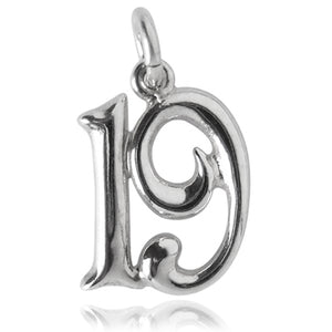 Number 19 Charm Numeral Nineteen Sterling Silver or Gold Pendant