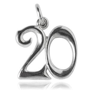 Number 20 Charm Numeral Twenty Sterling Silver or Gold Pendant