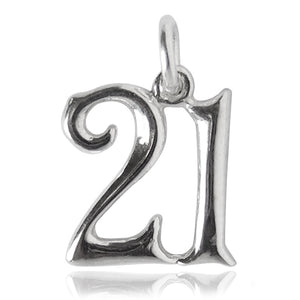 Number 21 Charm Numeral Twenty One Sterling Silver or Gold Pendant