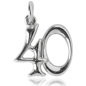 Number 40 Charm Numeral Forty Sterling Silver or Gold Pendant