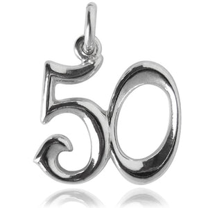 Number 50 Charm Numeral Fifty Sterling Silver or Gold Pendant