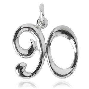 Number 90 Charm Numeral Ninety Sterling Silver or Gold Pendant