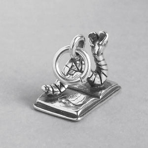 Bookworm on Book Charm Sterling Silver