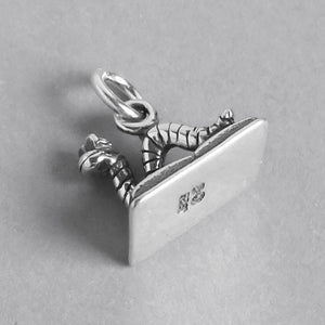 Bookworm on Book Charm Sterling Silver Side