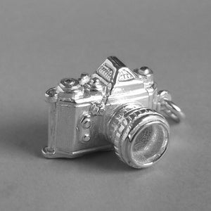 Camera Opens to Cheese Charm Pendant in Sterling Silver or Gold front