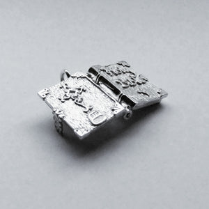 Holy Bible Charm Open Sterling Silver or Gold Pendant