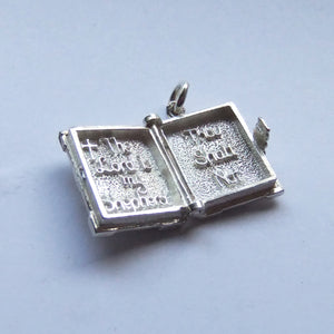 Holy Bible Charm Mechanical Sterling Silver or Gold Pendant