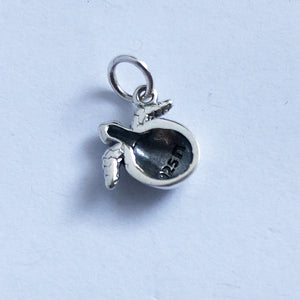 Baby Turtle Hatching from Egg Charm Sterling Silver