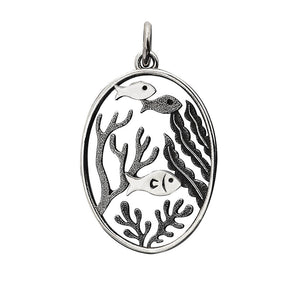 Sterling silver charm shoal of fish in aquarium with plants pendant