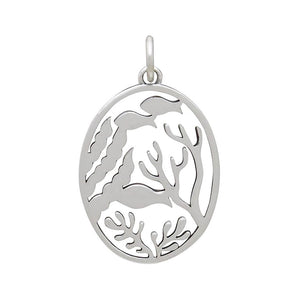 Sterling silver fishes charm reverse