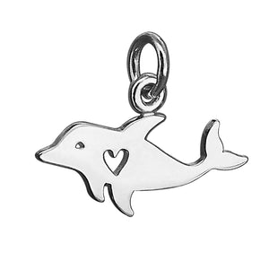 Dolphin with heart sterling silver charm