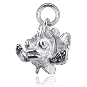 Clownfish Charm Sterling Silver or Gold Fish Pendant