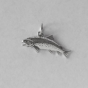 Trout Fish Charm Sterling Silver Salmon Pendant