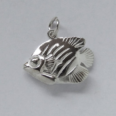 Tropical fish charm sterling silver or gold pendant