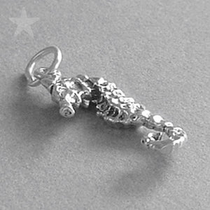 Seahorse Charm Sterling Silver Pendant Side