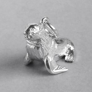 Fur Seal Charm Sterling Silver or Gold Side