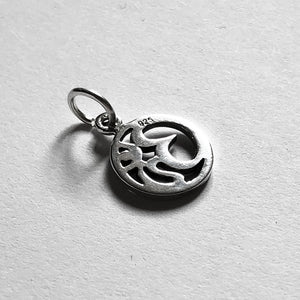 Ohm symbol charm in sterling silver buddhism pendant