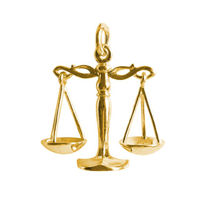 Gold Libra Scales of Justice Law Charm Pendant