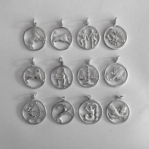 Astrology Sign Sterling Silver or Gold Zodiac Symbol Pendant