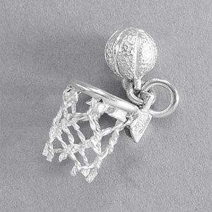 Moving Basketball and Net Charm Sterling Silver or Gold Pendant