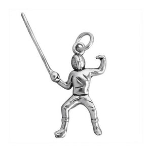 Fencer charm sterling silver epee pendant