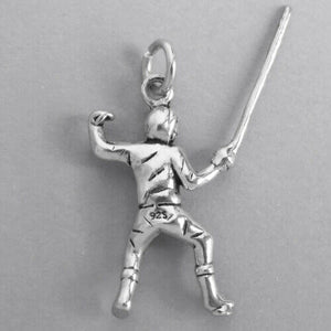 Fencing charm sterling silver person with foil pendant