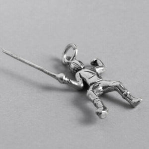 Fencer charm sterling silver person fencing with sabre pendant