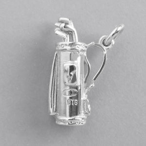 Golf Bag and Clubs Charm Sterling Silver or Gold