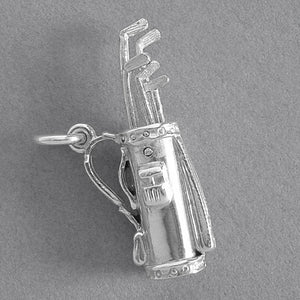 Golf Bag Moving Clubs Charm Sterling Silver or Gold Pendant