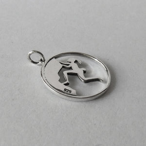 Rock climbing charm sterling silver outdoor sport pendant
