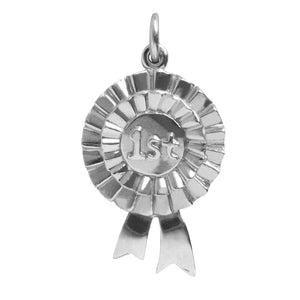 First Prize Rosette Charm Sterling Silver 1st Ribbon Pendant