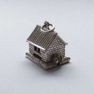Opening Garage Charm Sterling Silver with Motor Car