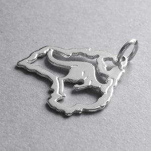 Sterling Silver Australia Map Charm with Kangaroo