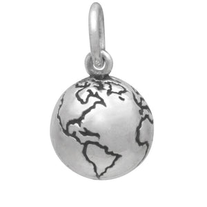 Globe charm sterling silver Earth The World Pendant